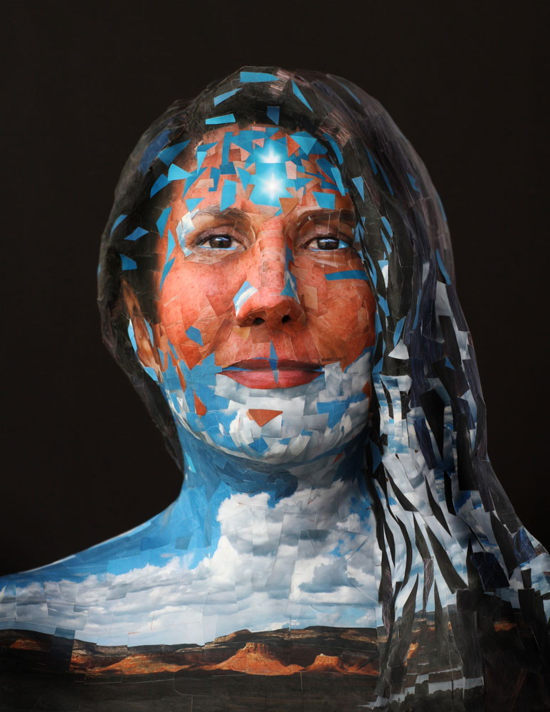 """Matt Gatton, """"Cloud Voice/Sky Song"""" photo-sculpture, 2020. Archival ink-jet prints on plaster and clay bust."""